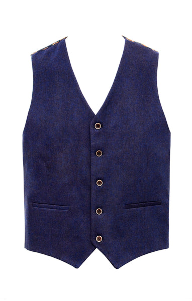 Navy Wool Texture Vest with copper lining