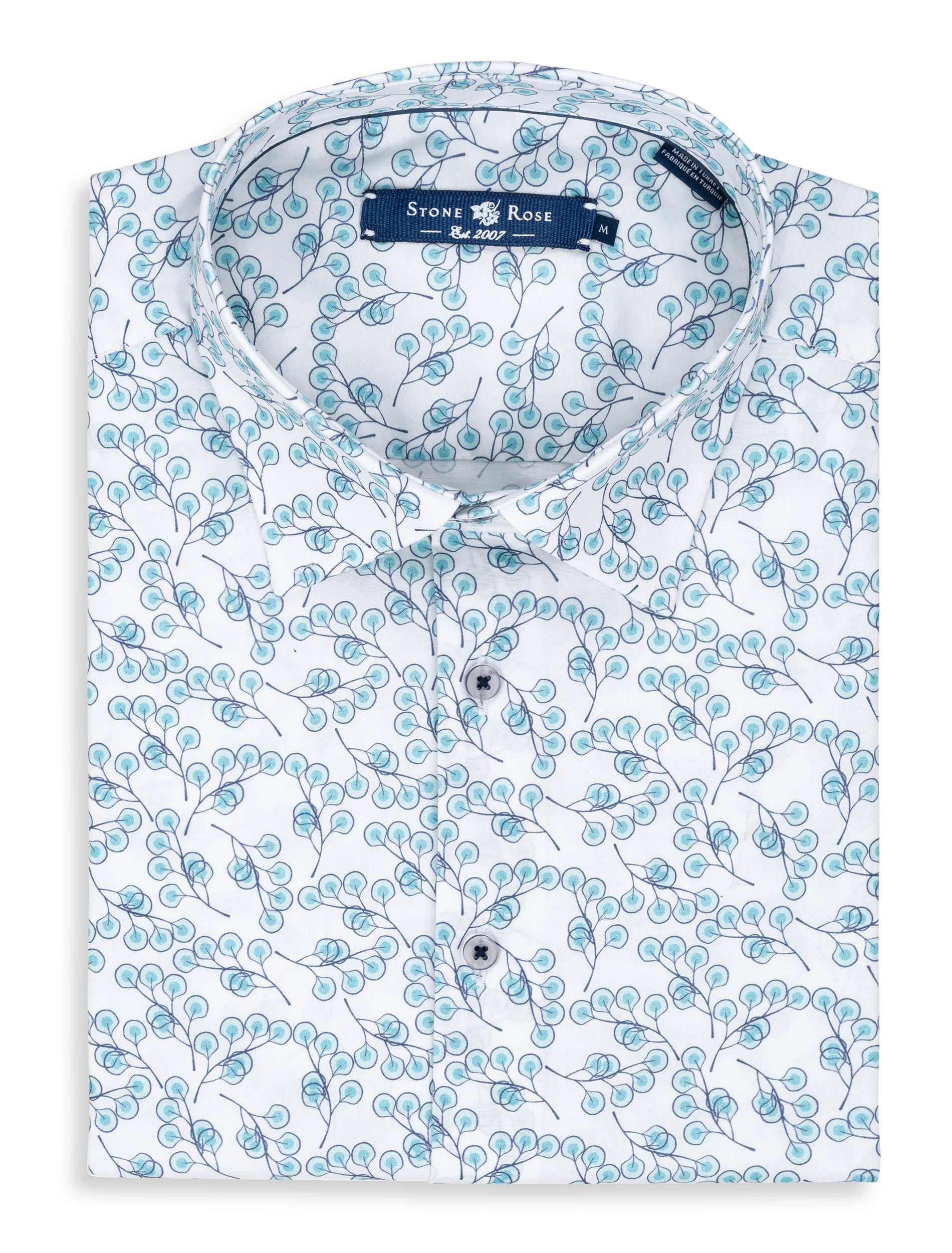 White Leaf Print Short Sleeve Shirt