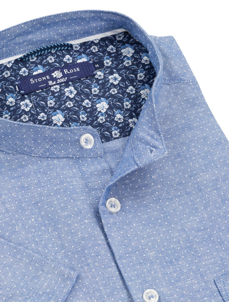 Blue Printed Linen Slub Short Sleeve Shirt