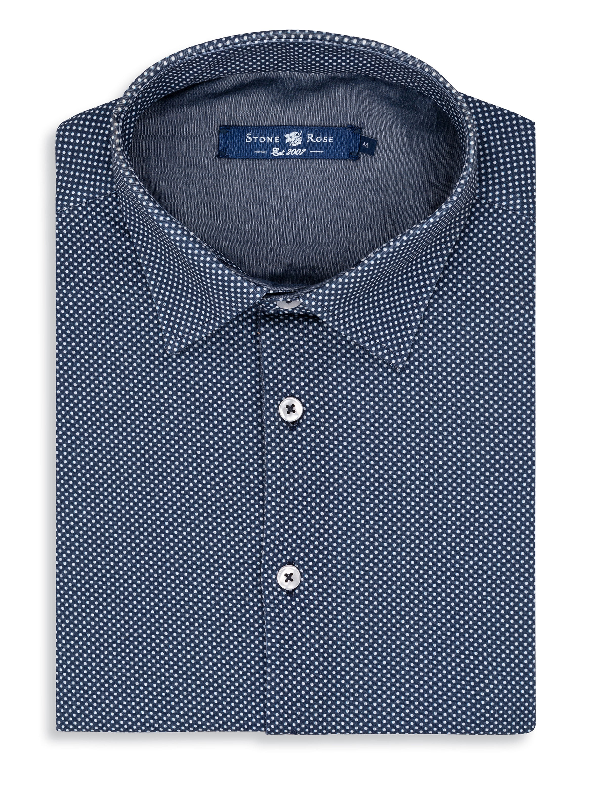 Navy Micro Dot Knit Short Sleeve Shirt