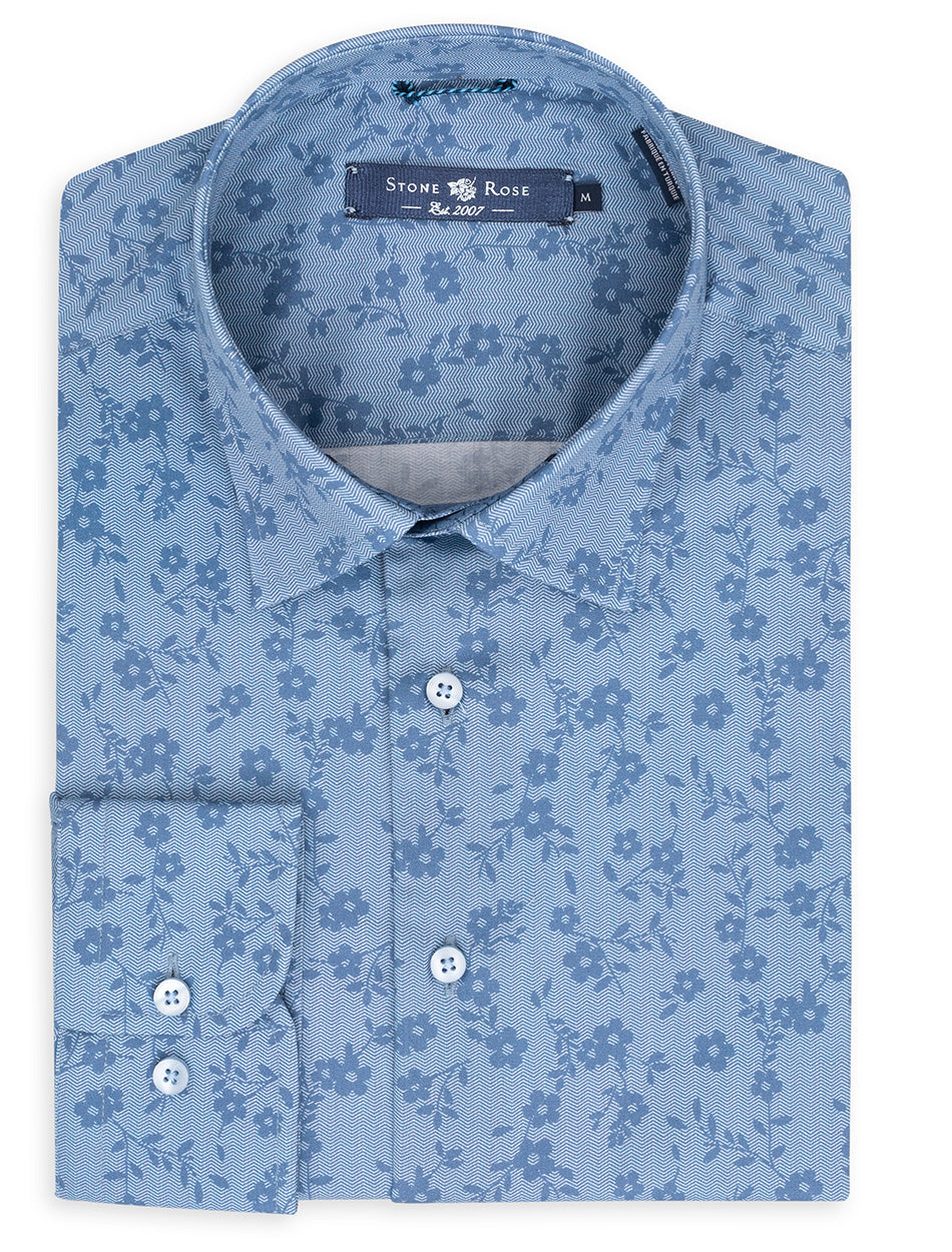 Blue Floral Herringbone Long Sleeve Shirt-Stone Rose