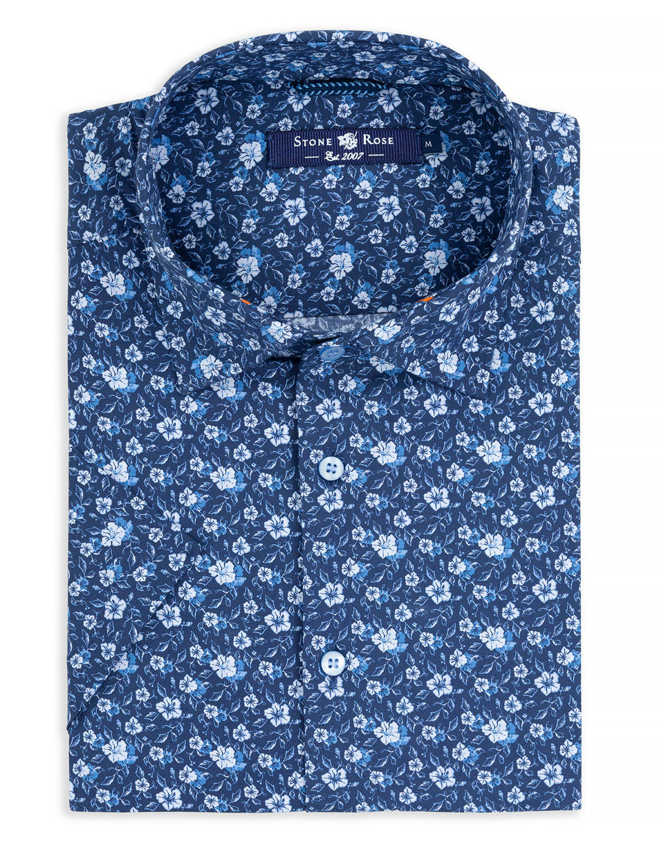 Navy Floral Print Short Sleeve Shirt-Stone Rose