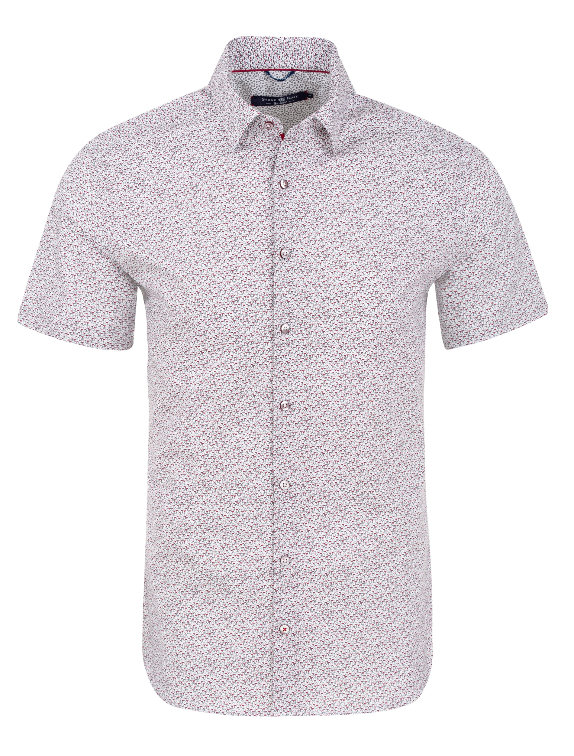 White Wine Glasses Print Short Sleeve Shirt-Stone Rose
