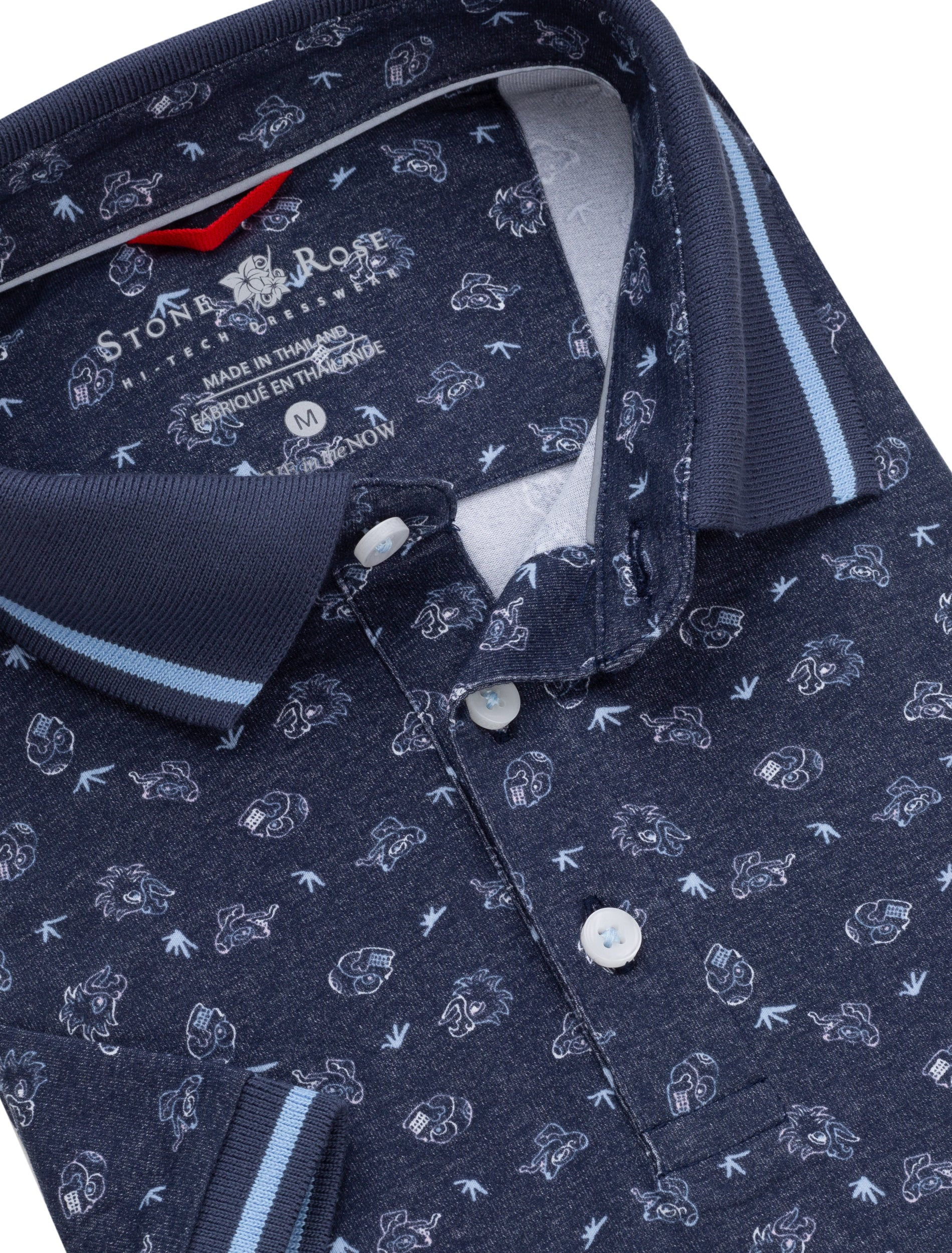 Navy Novelty Print Performance Polo