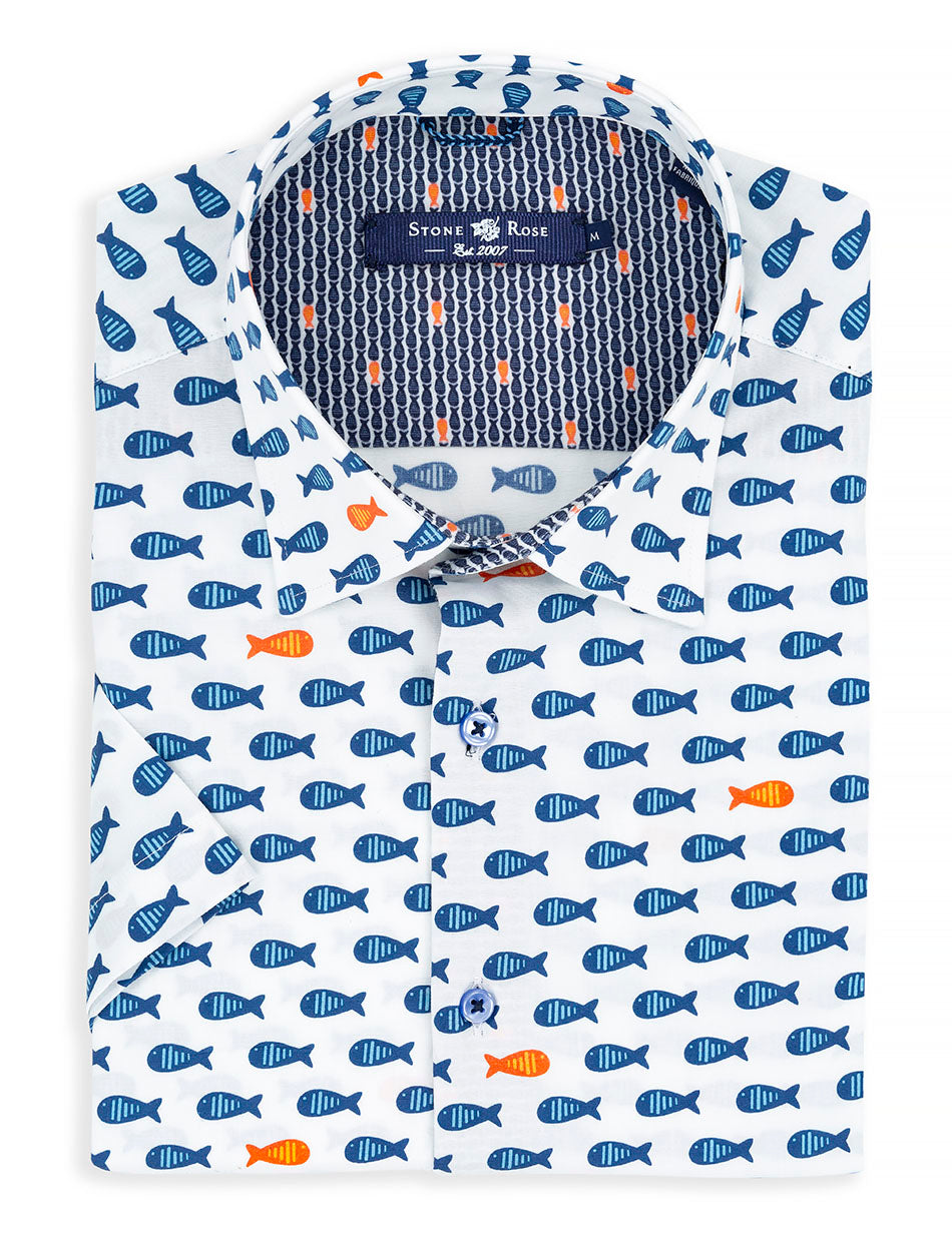 Navy Jumbo Fish Print Short Sleeve Shirt-Stone Rose