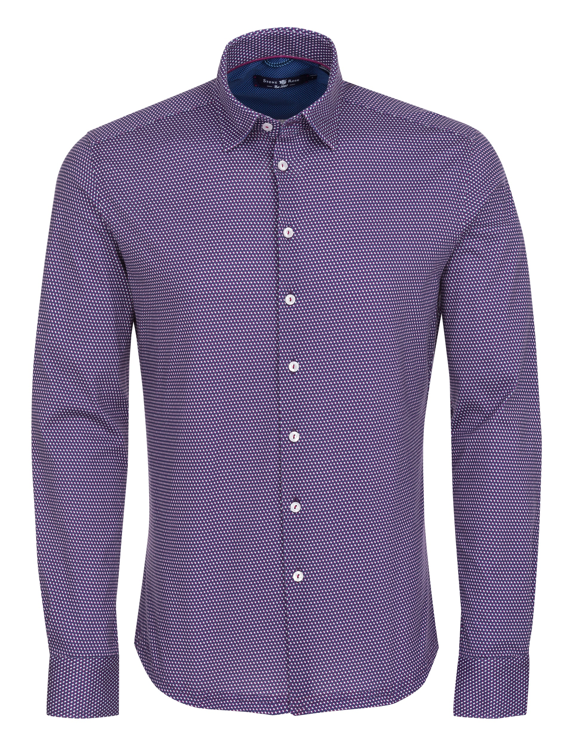 Purple Geometric Knit Long Sleeve Shirt-Stone Rose