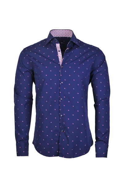 Men's Fil-Coupe Button Up Shirt in Navy - NAV 6901