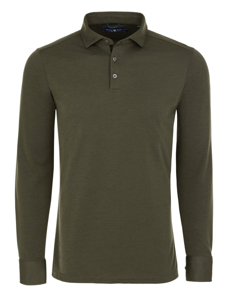 Green Two Tone Knit Polo