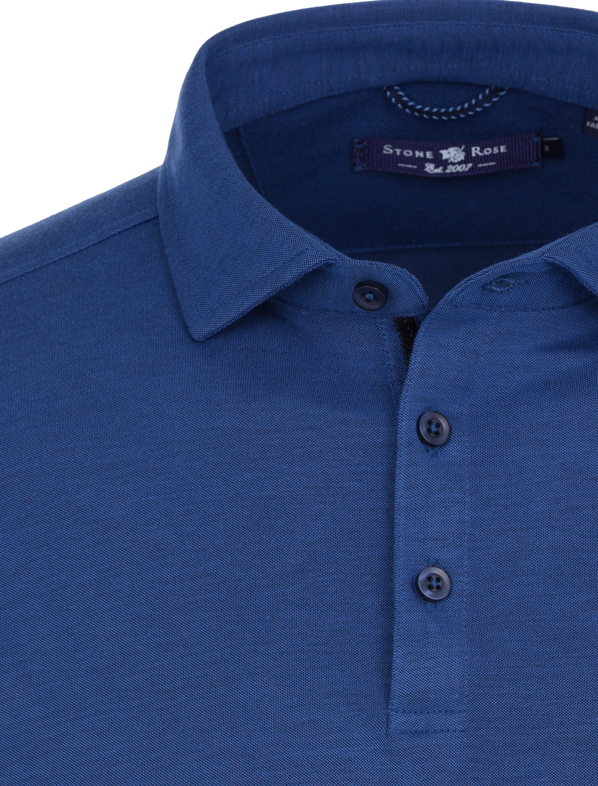 Navy Two Tone Knit Polo-Stone Rose
