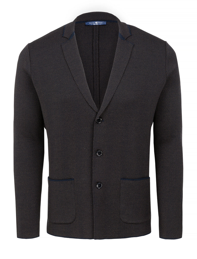 Copper Herringbone Knit Deconstructed Blazer