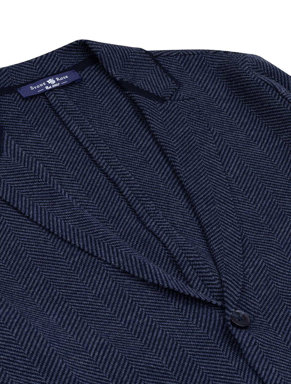 Navy Herringbone Knit Deconstructed Blazer-Stone Rose