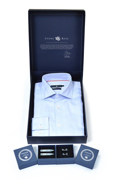 Men's Box Set with Herringbone Shirt in Blue