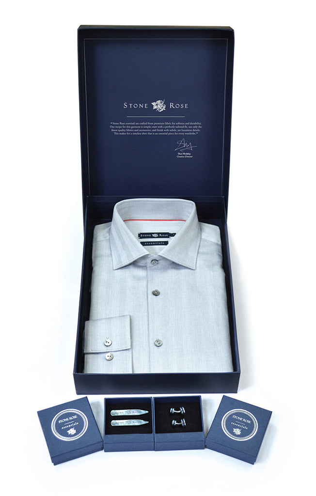 Men's Box Set with Herringbone Shirt in Gray