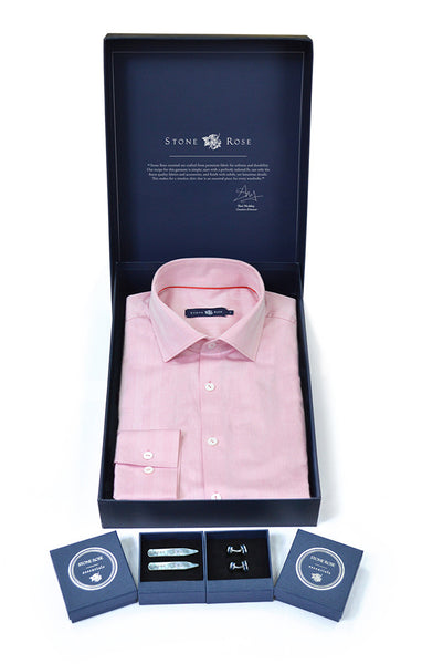 Stone Rose Men's Box Set with Herringbone Shirt in Red