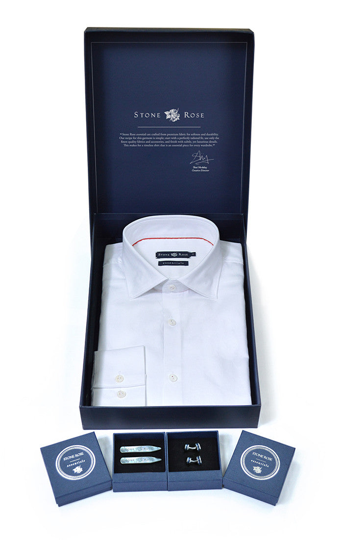 Gift Box Set with Herringbone Shirt in White-Stone Rose