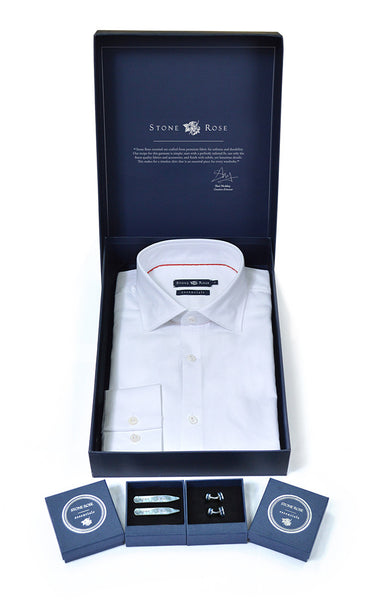 Stone Rose Men's Box Set with Herringbone Shirt in White