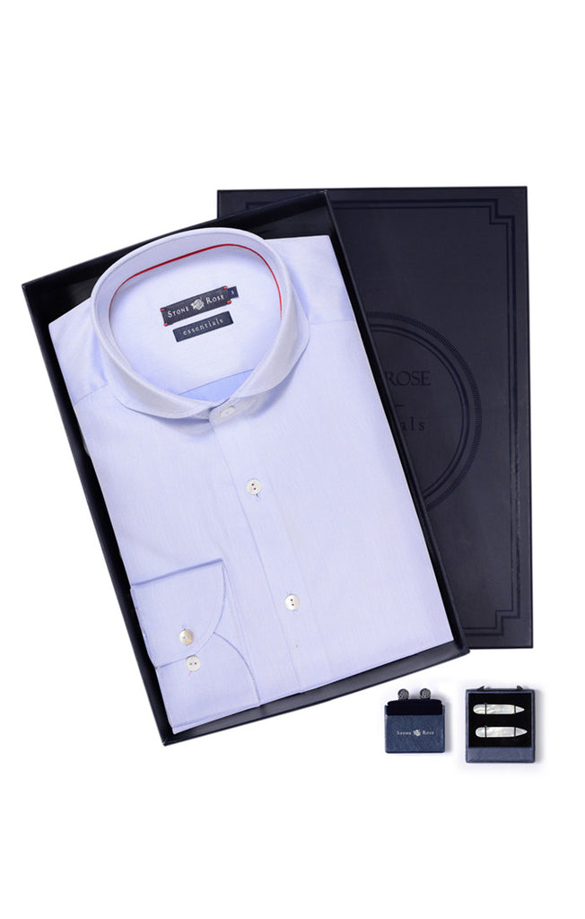 Men's Box Set with Textured Shirt in Blue