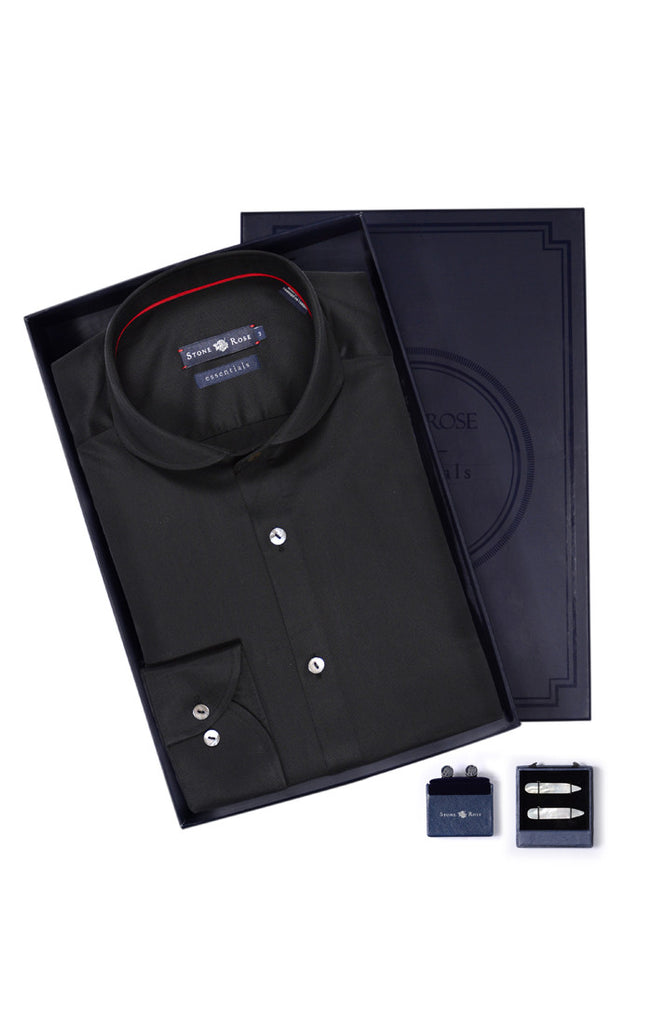 Men's Box Set with Textured Shirt in Black
