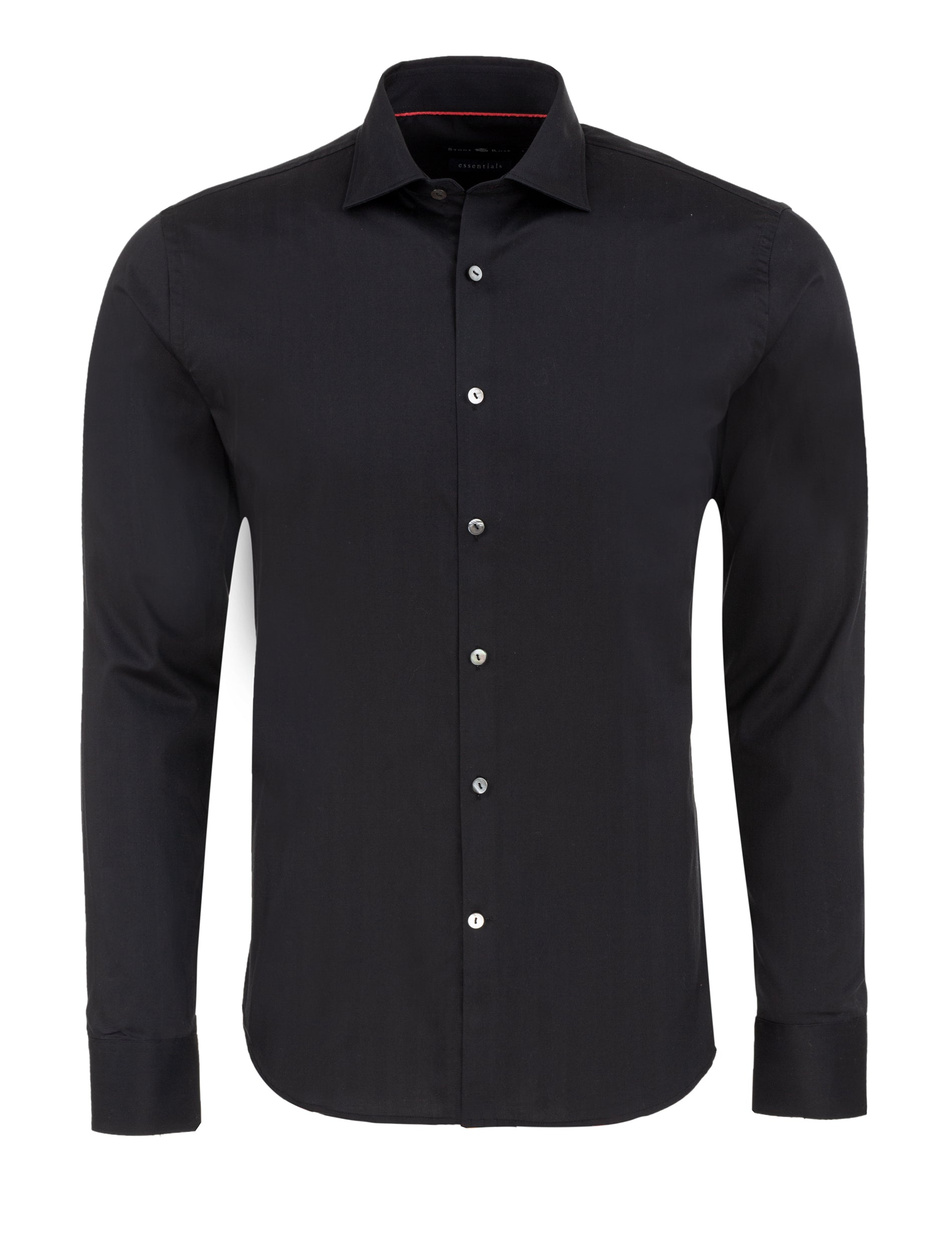 Herringbone Button Up Shirt in Black-Stone Rose