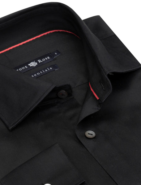 Stone Rose Men's Herringbone Button Up Shirt in Black