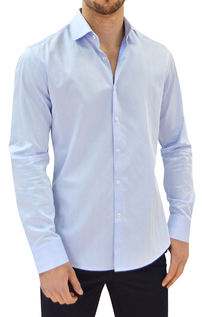 NYC5106 - Men's Herringbone Button Up Shirt in Blue