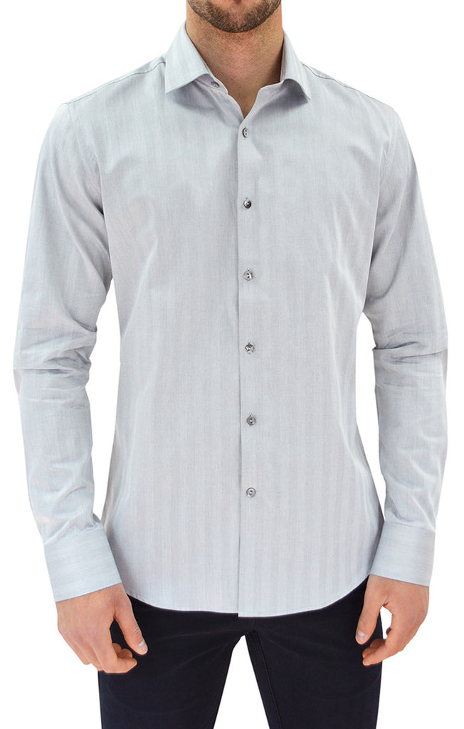 NYC5106 - Men's Herringbone Button Up Shirt in Gray