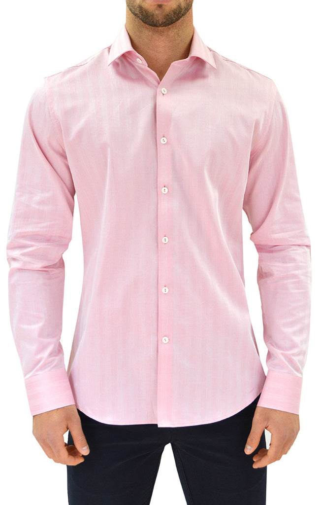 Stone Rose Men's Herringbone Button Up Shirt in Red