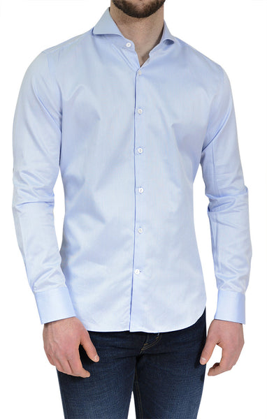 Men's Textured Button Up Shirt in Blue - NYC 5202