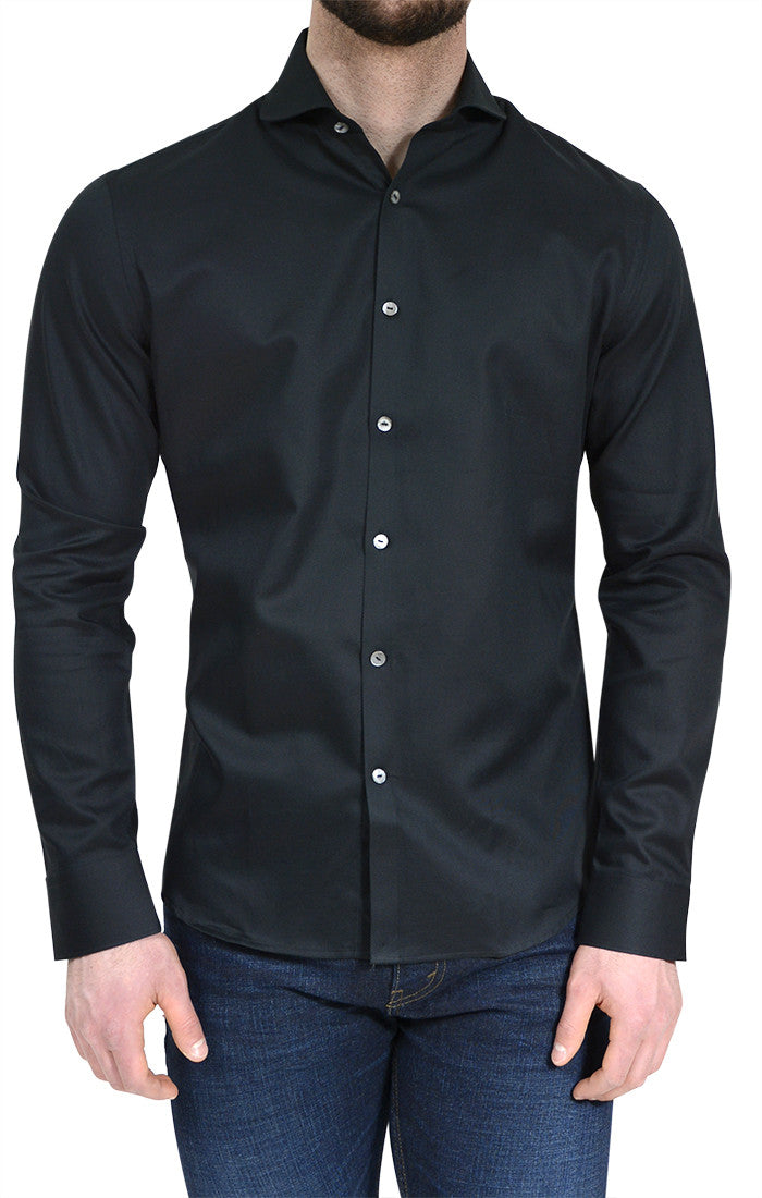 Textured Button Up Shirt in Black-Stone Rose