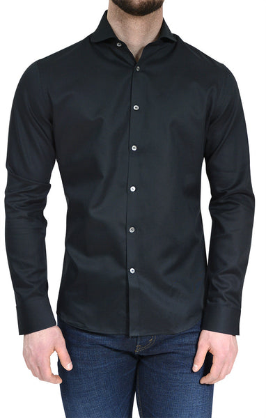 Men's Textured Button Up Shirt in Black - NYC 5202