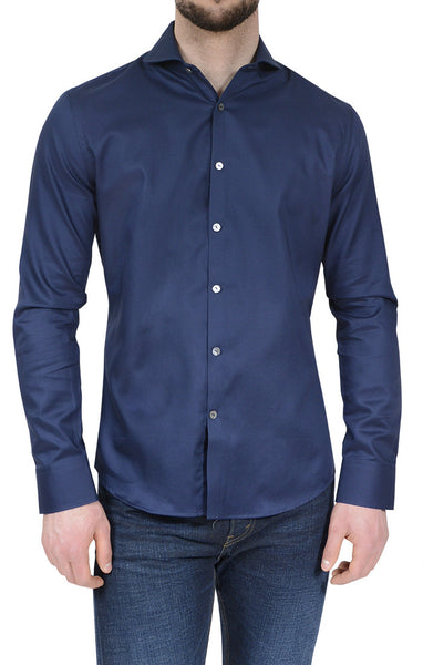 NYC5202 - Men's Textured Button Up Shirt in Navy