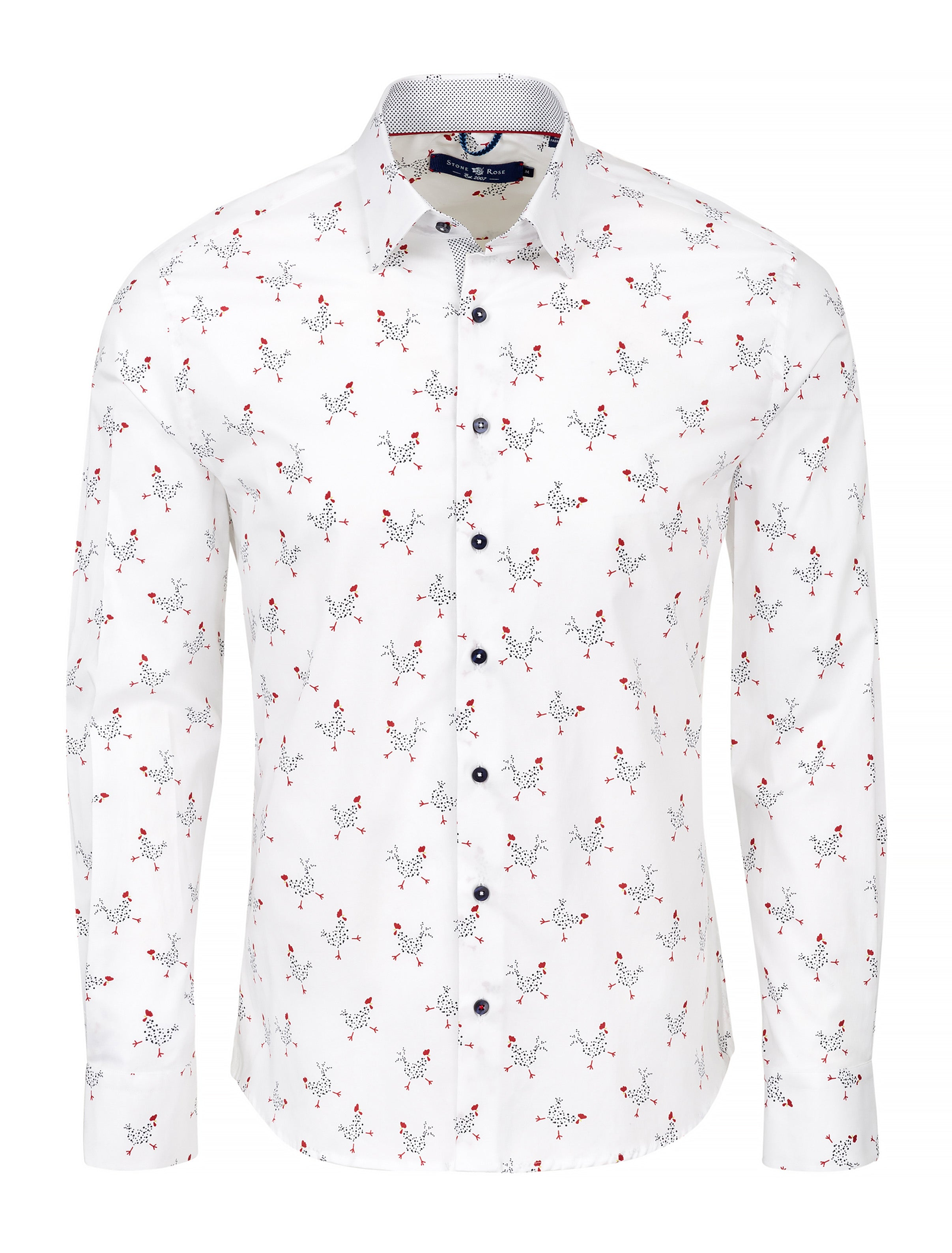 White Chicken Print Long Sleeve Shirt-Stone Rose