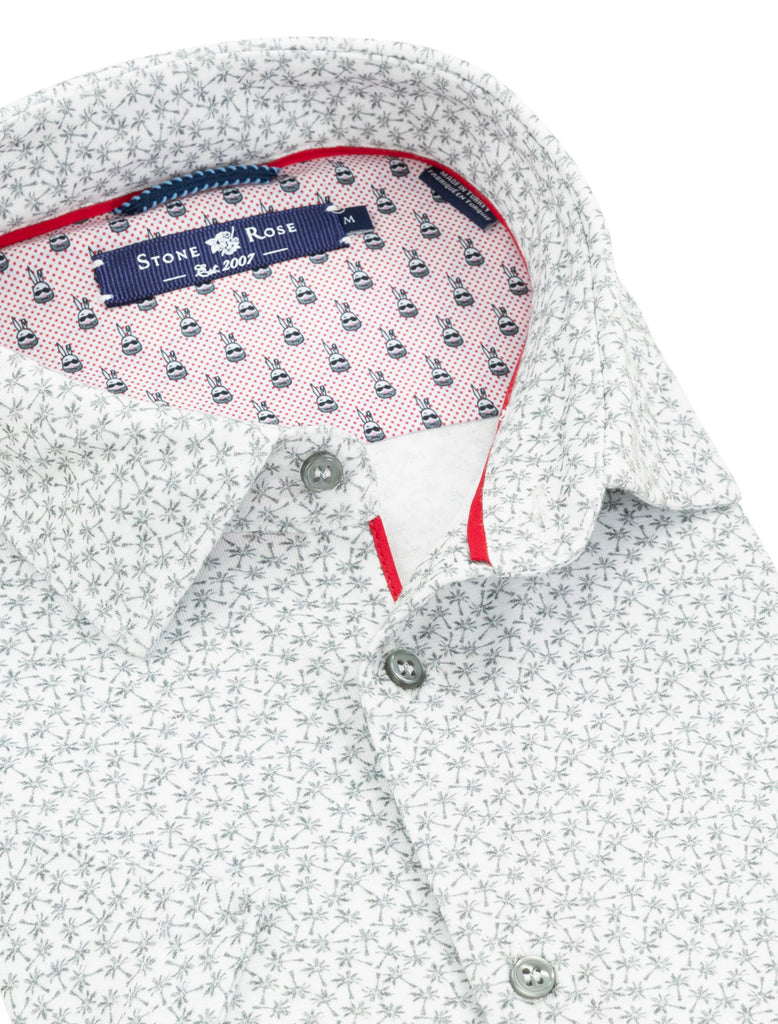 Close-up view of a men's summer top from Stone Rose showing the contrast fabric and piping inside the collar.