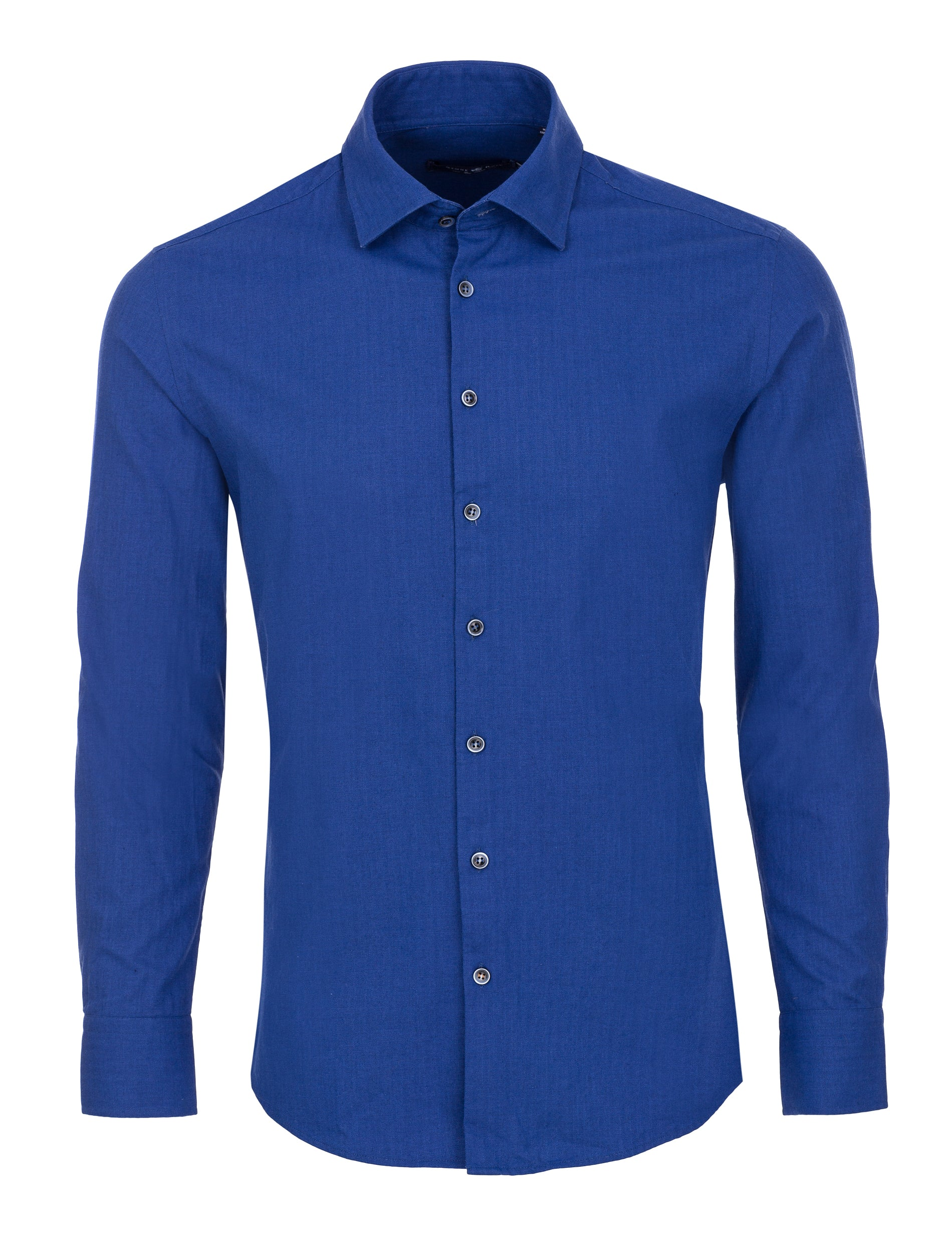 Blue Herringbone Long Sleeve Shirt-Stone Rose