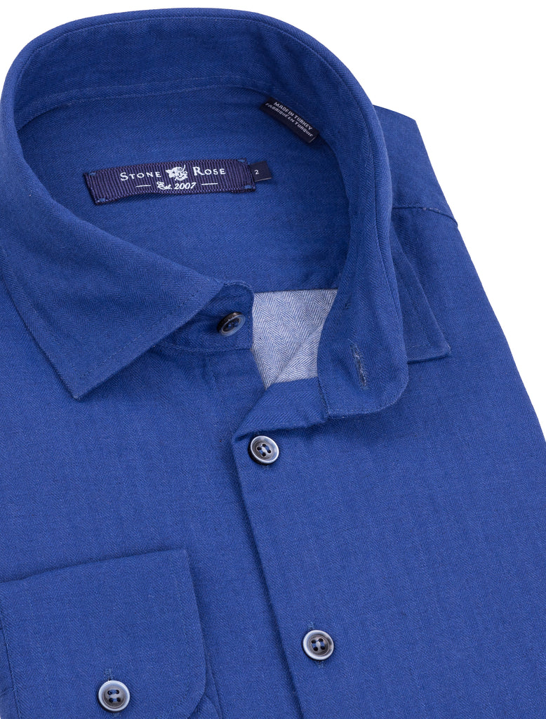 Blue Herringbone Long Sleeve Shirt