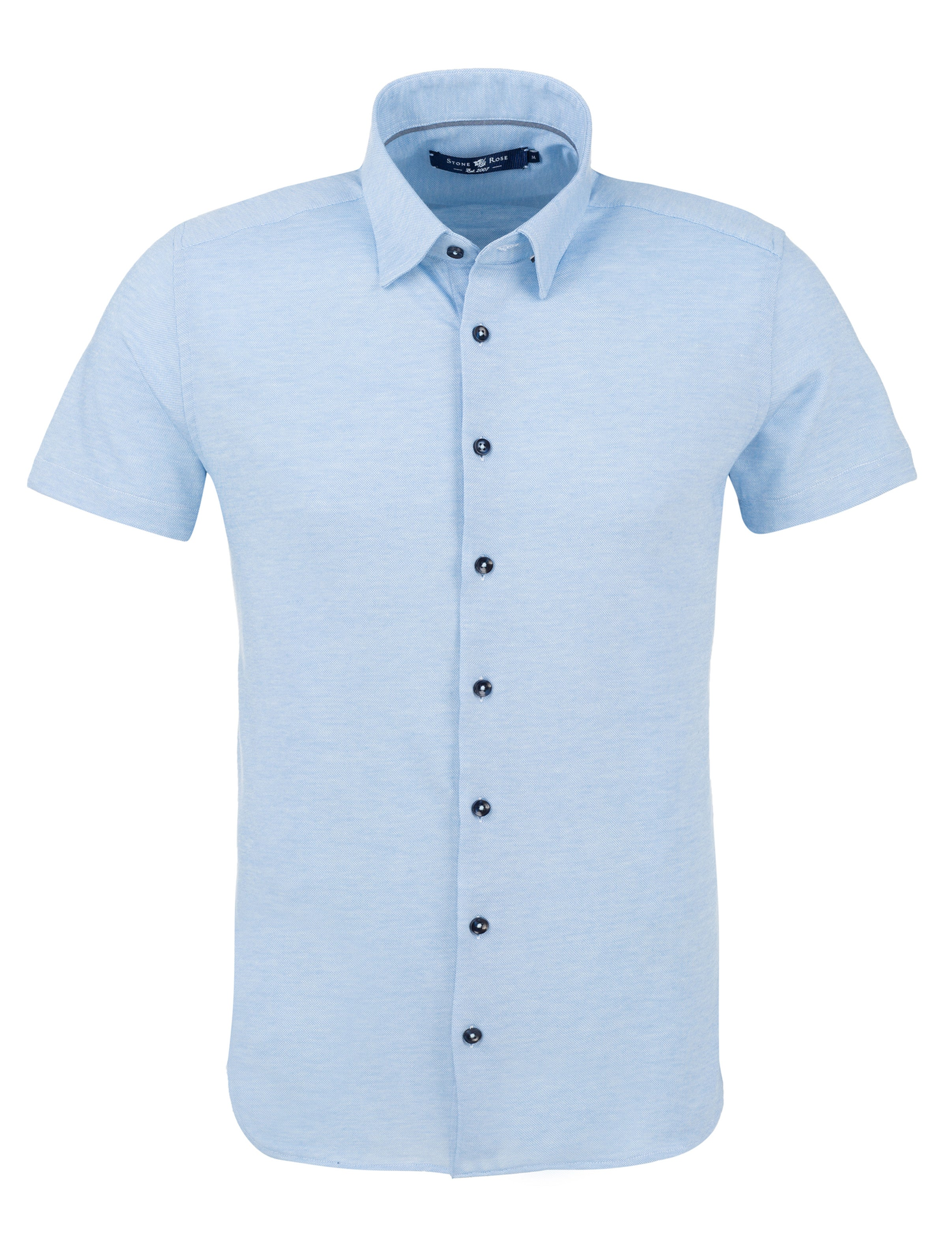 Light Blue Pique Knit Short Sleeve Shirt