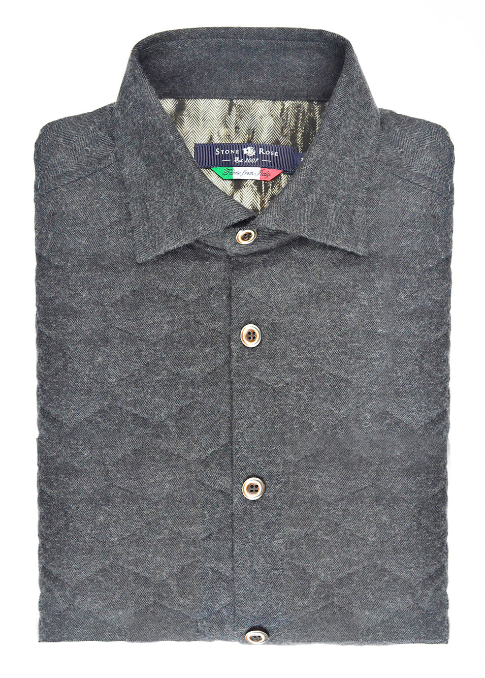 Charcoal Quilted Herringbone Long Sleeve Shirt-Stone Rose
