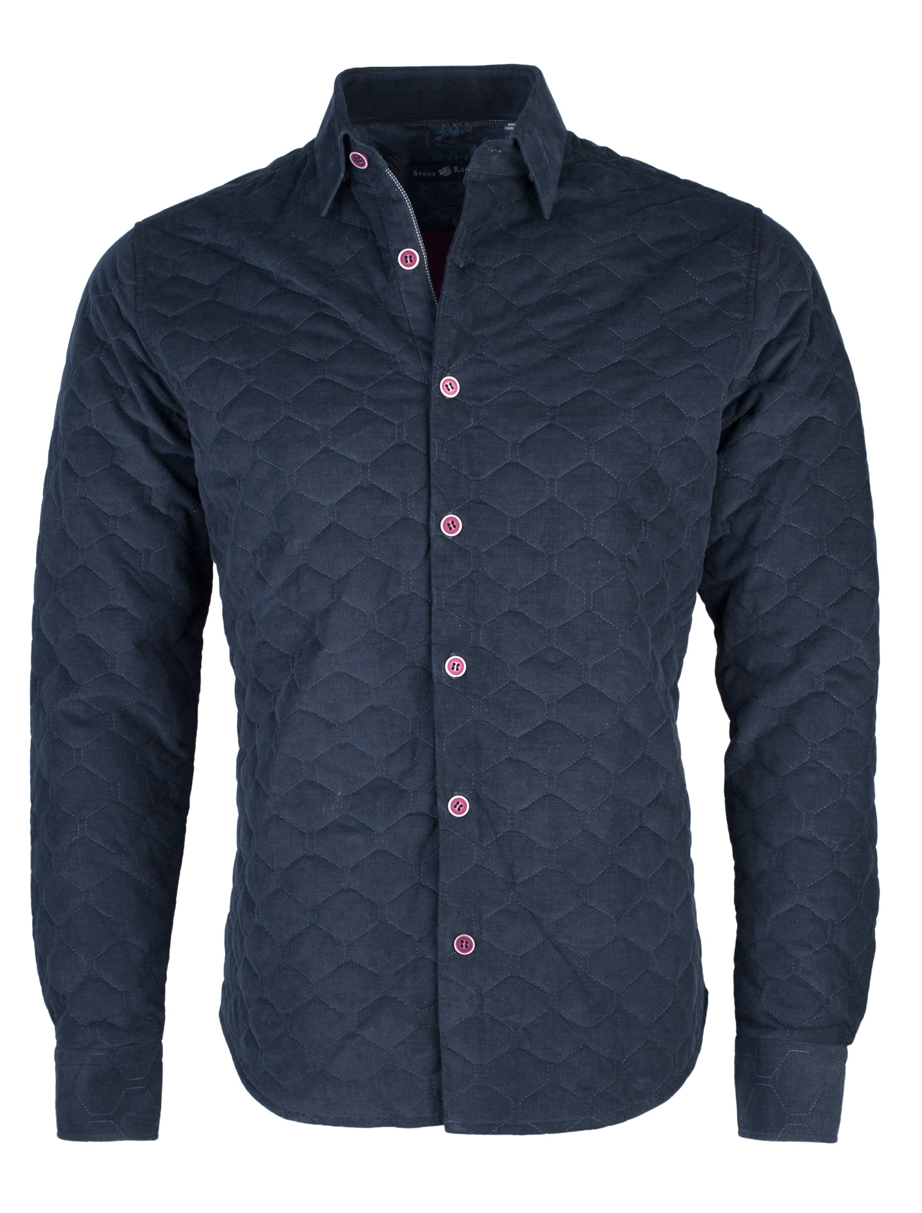 Navy Quilted Corduroy Long Sleeve Shirt-Stone Rose