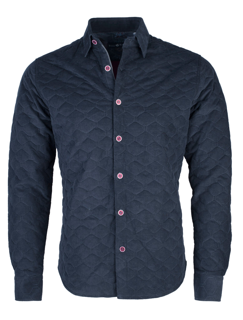 Navy Quilted Corduroy Long Sleeve Shirt