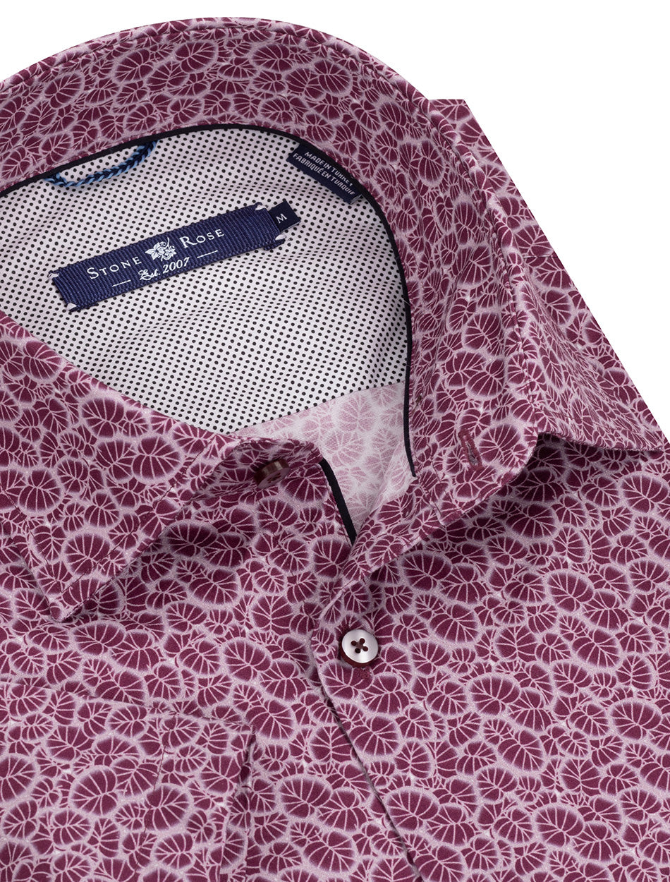 Berry Leaf Print Short Sleeve Shirt-Stone Rose