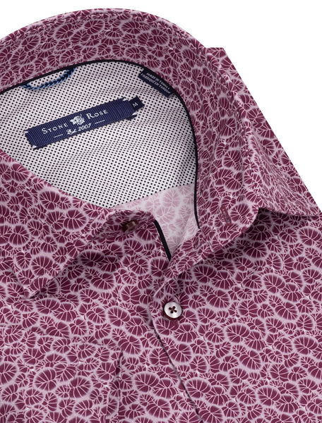 Berry Leaf Print Short Sleeve Shirt