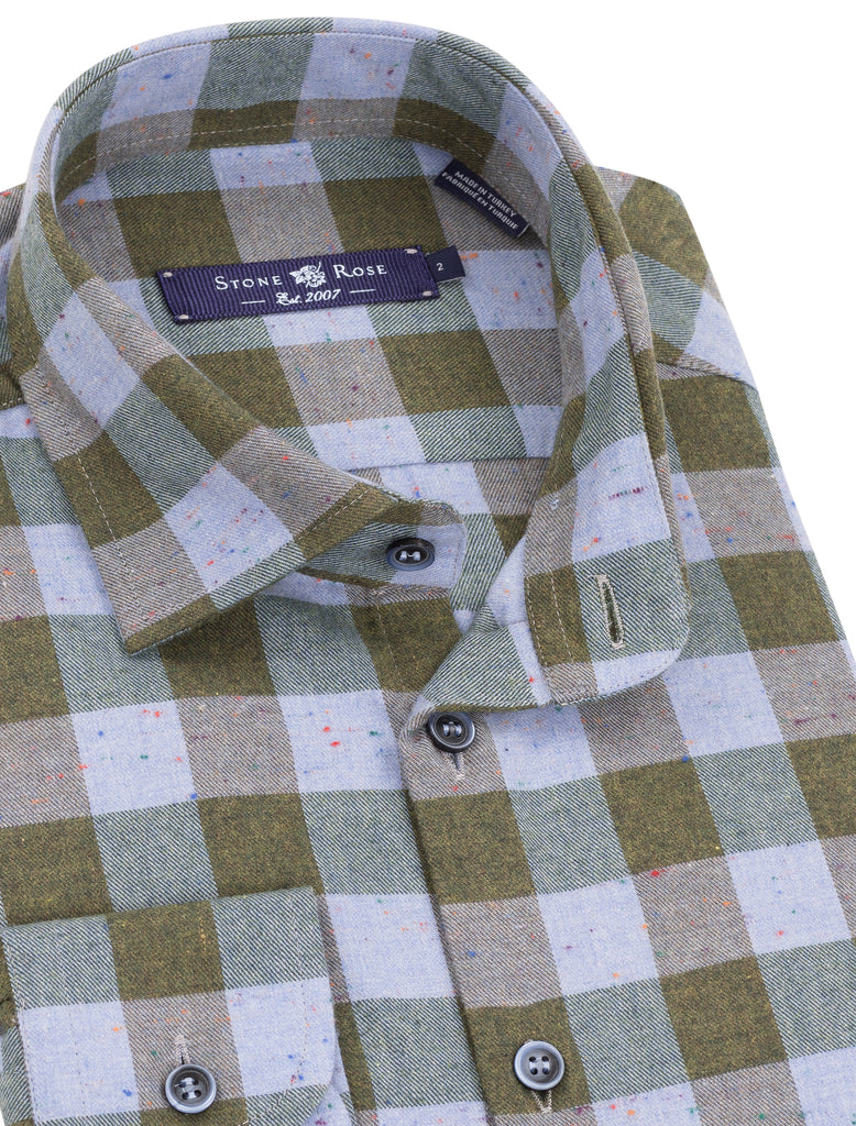 Khaki Flannel Plaid Long Sleeve Shirt