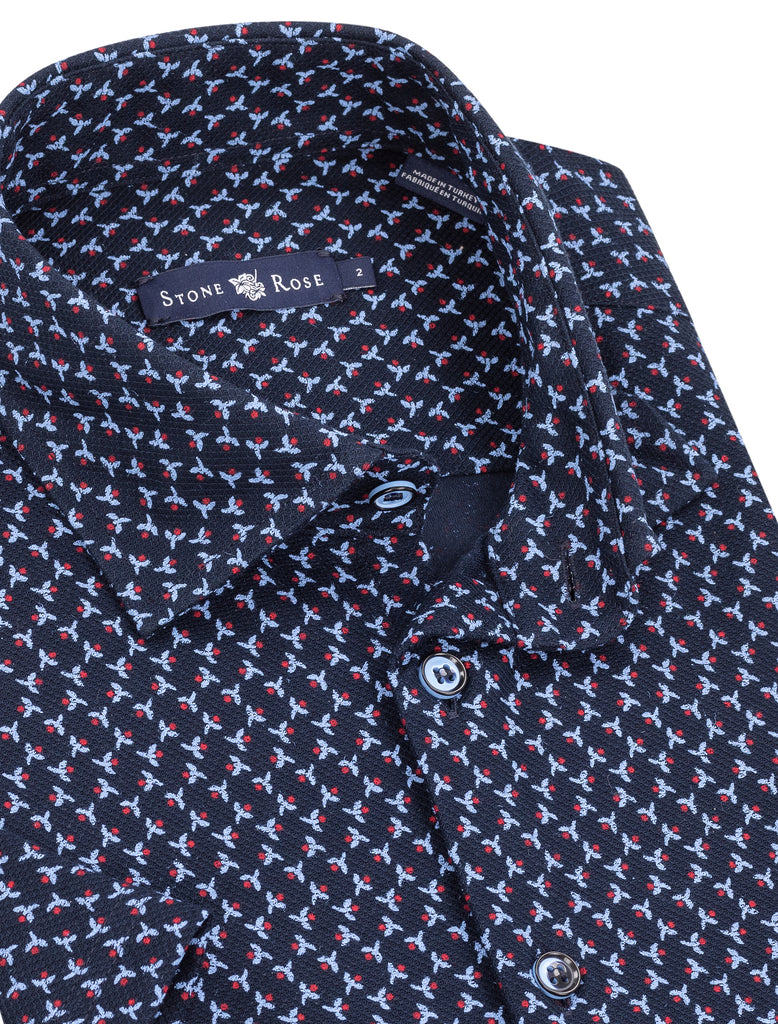 Navy Floral Print Short Sleeve Knit Shirt