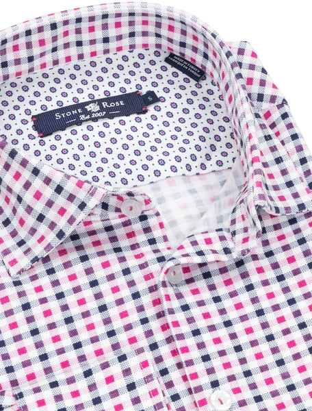 Pink Check Knit Long Sleeve Shirt