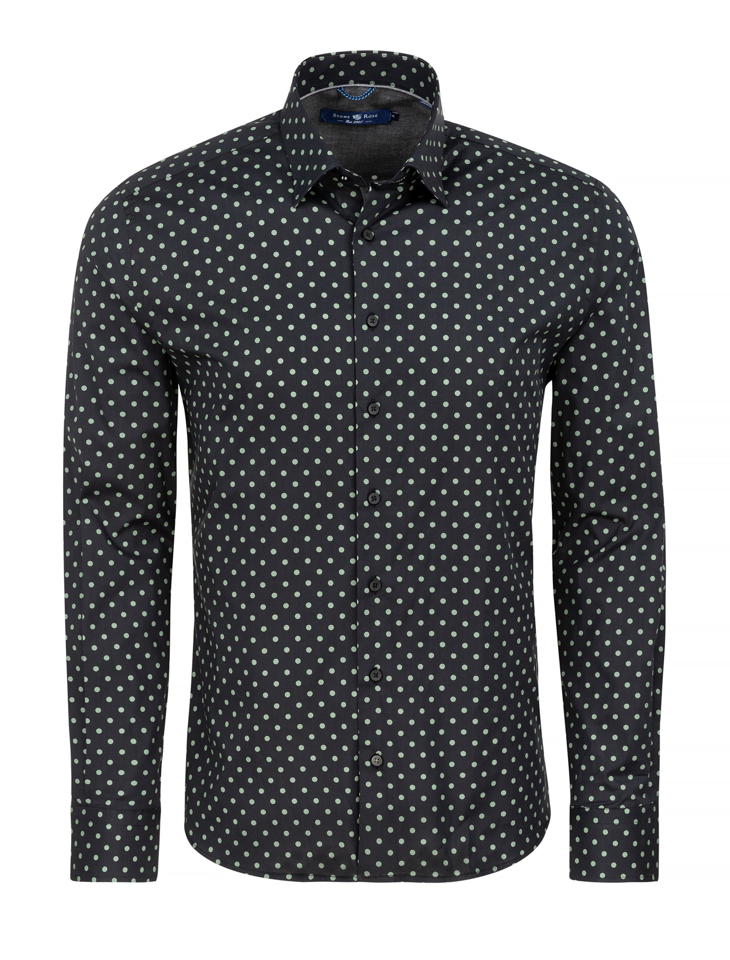 Black Polka Dot Print Long Sleeve Shirt-Stone Rose