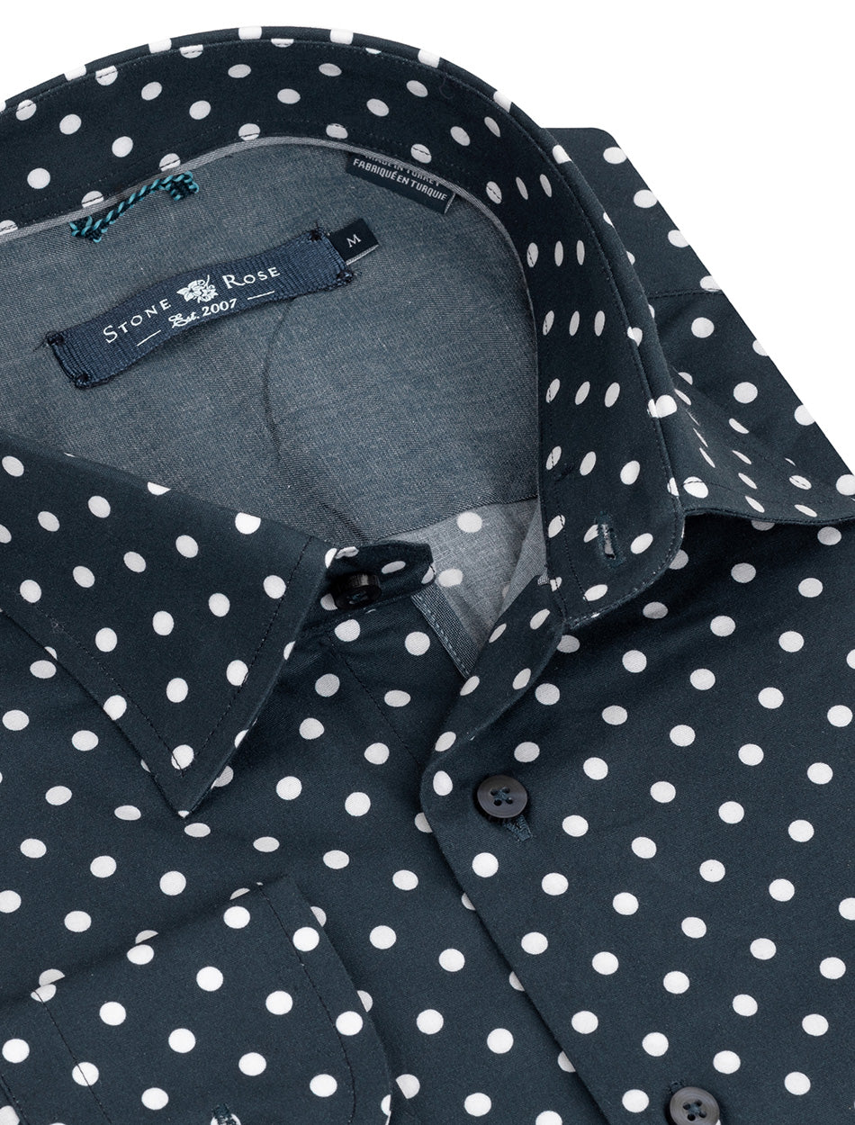 Navy Polka Dot Print Long Sleeve Shirt-Stone Rose