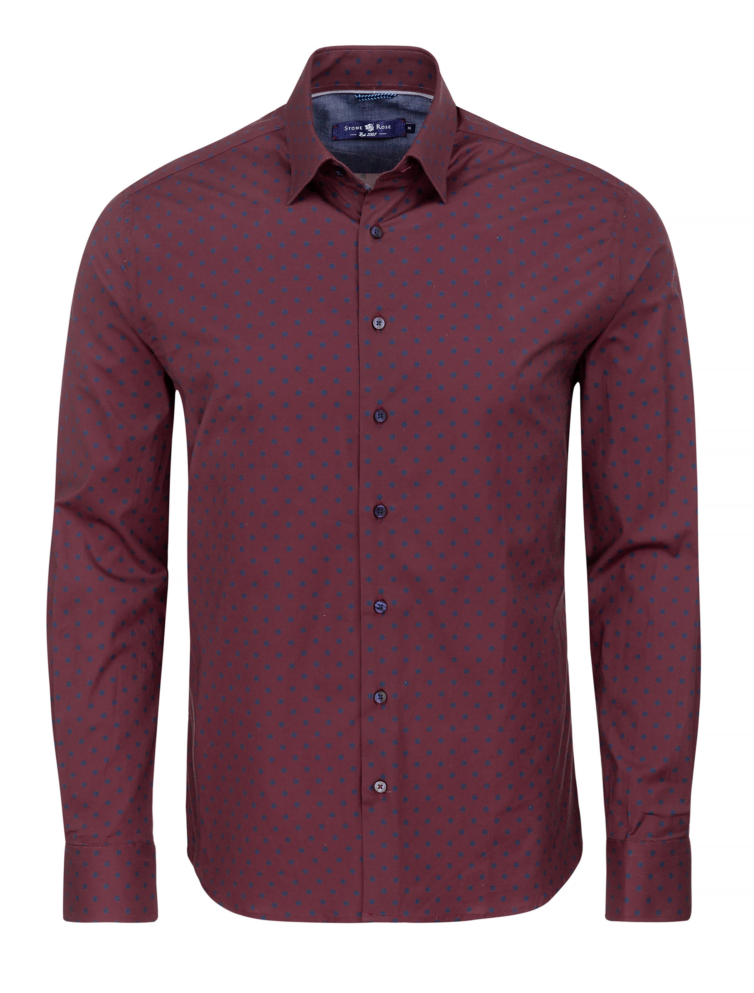 Burgundy Polka Dot Print Long Sleeve Shirt-Stone Rose