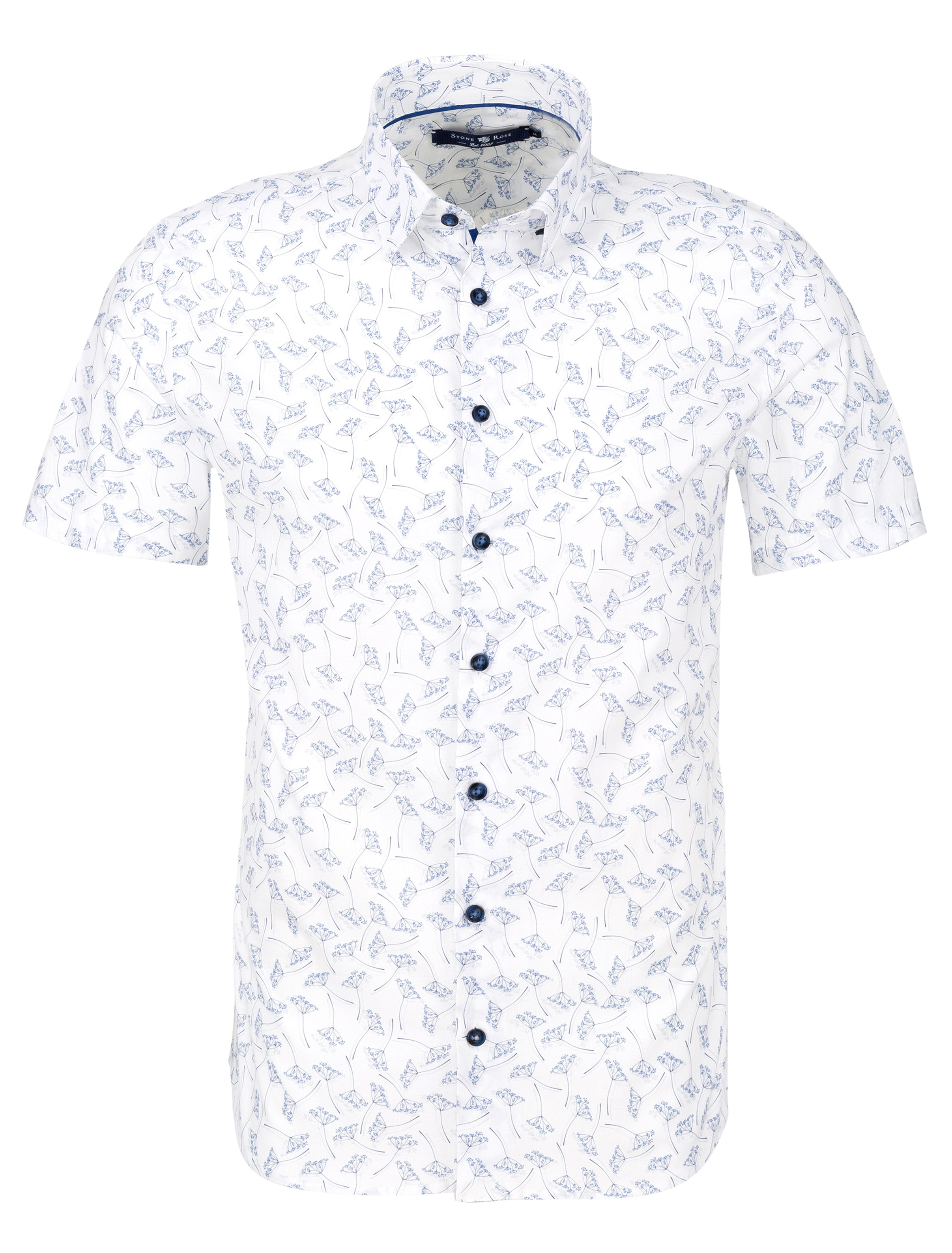 White Novelty Print Short Sleeve Shirt
