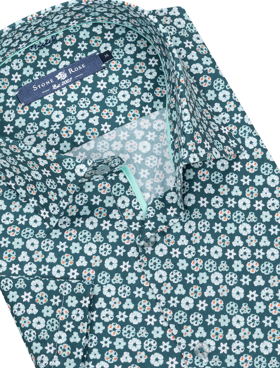 Turquoise Geometric Print Short Sleeve Shirt