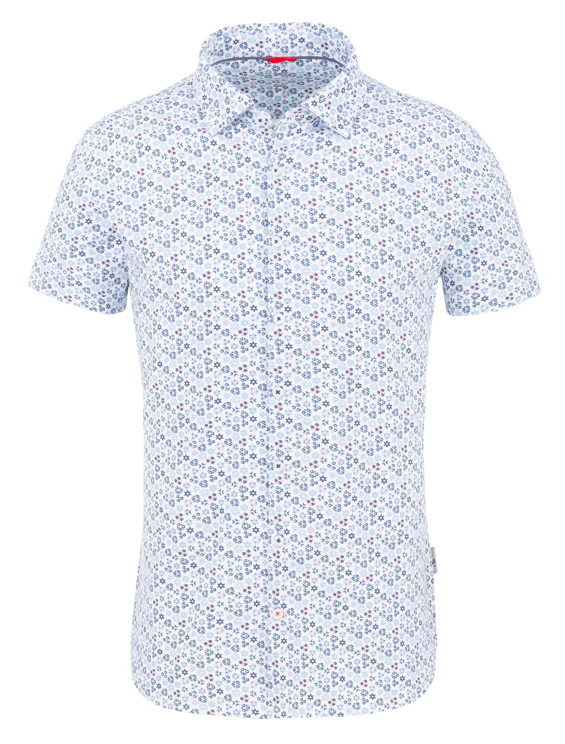 Light Blue Geometric Performance Knit Short Sleeve Shirt